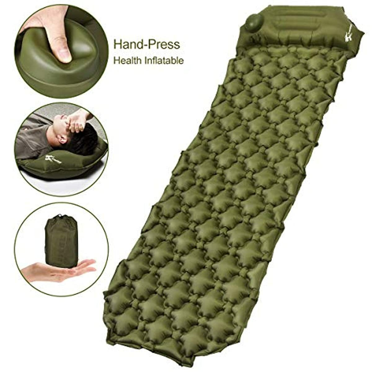 UK Lightweight Inflating Sleeping Pad Camping Mat Bed with Attached Pillow